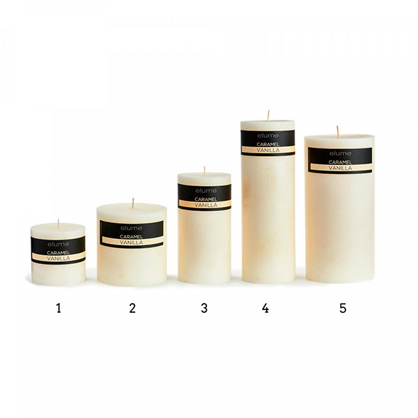 Elume Coconut Vanilla Scented Signature Pillar Ivory Candles Group Extra Small to Extra Large