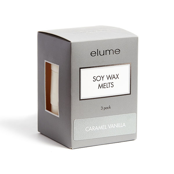 Elume Caramel Vanilla Scented Soy Wax Melts 3 Pack In Box