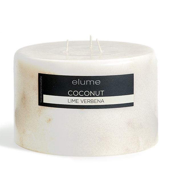 Elume Coconut Lime Verbena Scented Soy 3-wick Pillar Candle