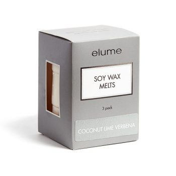 Elume Coconut Lime Verbena Scented Soy Wax Melts 3 Pack In Box