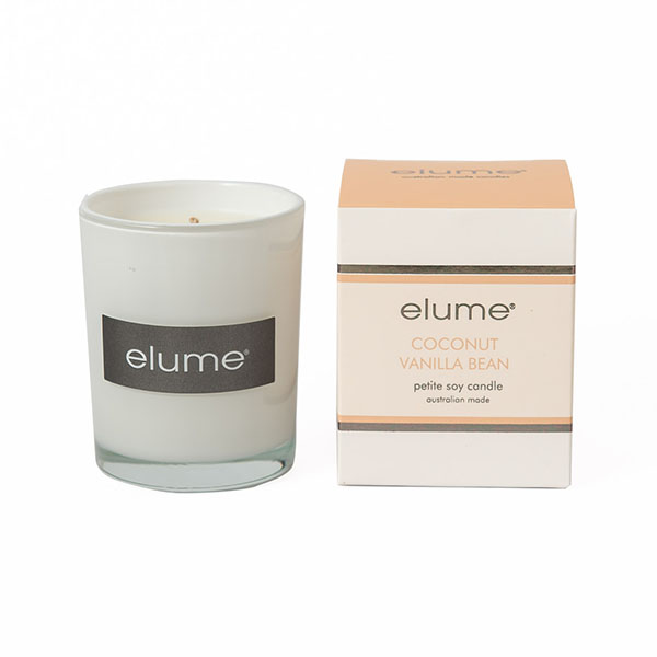 Elume Coconut Vanilla Bean Petite Soy Candle And Box