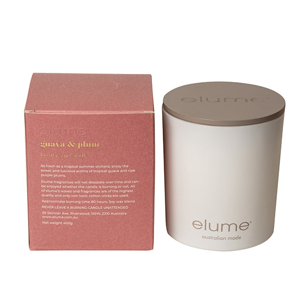 Elume Guava And Plum Luxury Soy Scented Candle Jar And Box Back Of Box