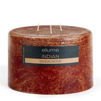 Elume Indian Sandalwood Scented Soy 3-wick Pillar Candle