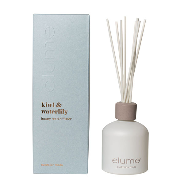 Elume Kiwi Waterlily Scented Reed Diffuser Bottle And Box