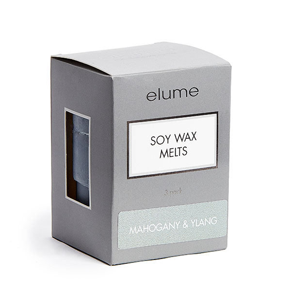 Elume Mahogany And Ylang Scented Soy Wax Melts 3 Pack In Box