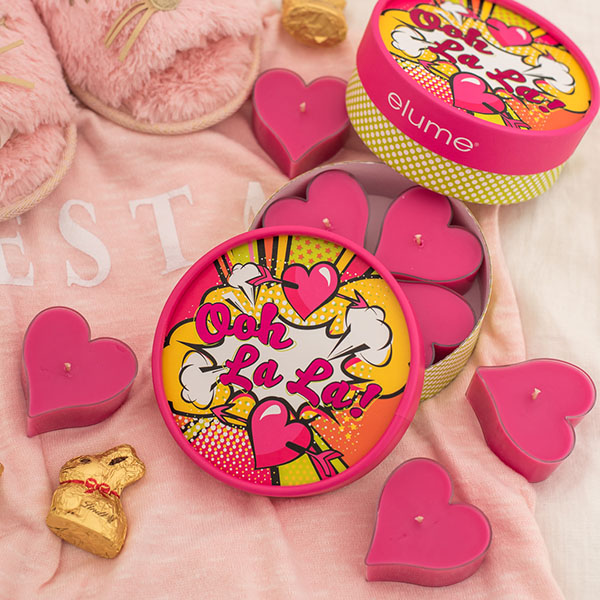 Ooh La La Scented Luxury Mini Soy Candles Red Hearts With Decorative Box Slippers
