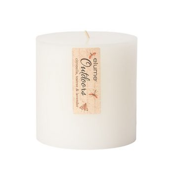 Elume Outdoors Citronella Teatree And Lavender Soy Pillar Candle 4x4