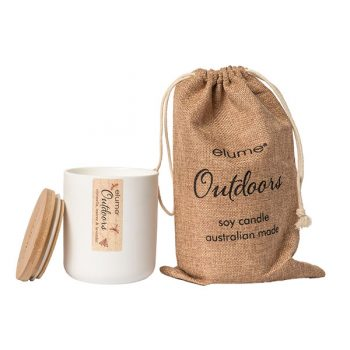 Elume Outdoors Citronella Teatree And Lavender Soy Pillar Candle Jar With Bag And Lid