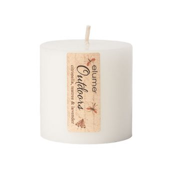 Elume Outdoors Citronella Teatree And Lavender Soy Pillar Candle 3x3