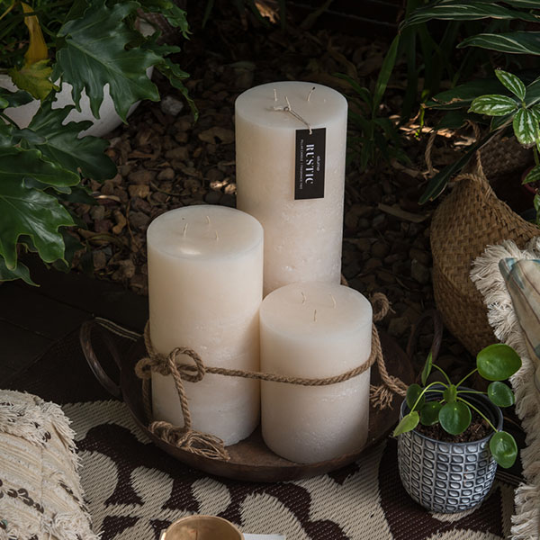 Elume White Rustic Pillar 3 Wick Candles Small To Large