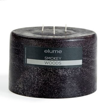 Elume Smokey Woods Scented Soy 3-wick Pillar Candle