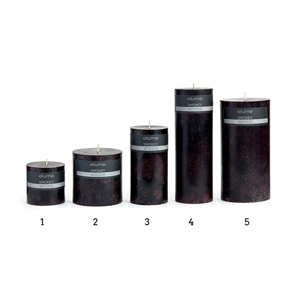 Elume Smokey Woods Scented Signature Pillar Black Candles Group Extra Small to Extra Large