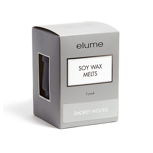 Elume Smokey Woods Scented Soy Wax Melts 3 Pack In Box