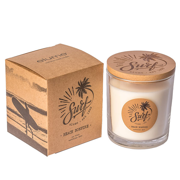 Elume Surf Range Beach Bonfire Scented Soy Candle Jar and Decorative Box