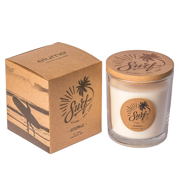 Elume Surf Surfwax Scented Soy Candle Jar and Box Sideview
