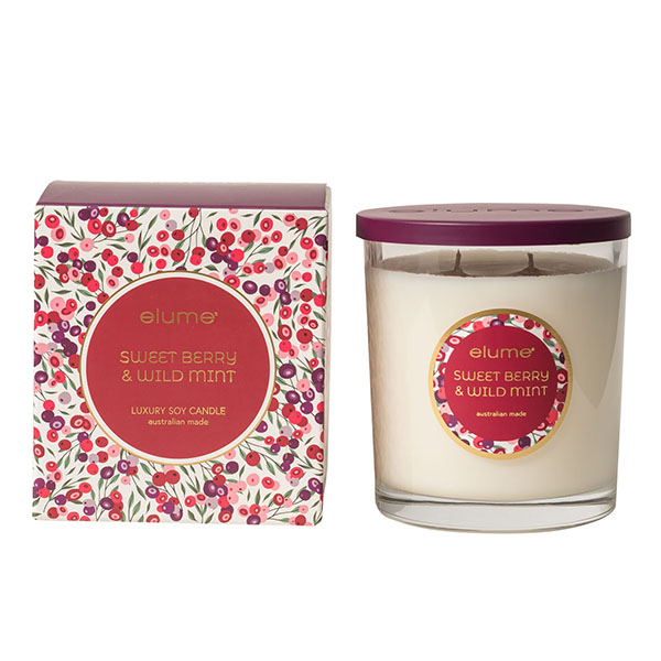 Elume Sweet Berry And Wild Mint Luxury Soy 2 Wick Candle Jar With Decorative Box
