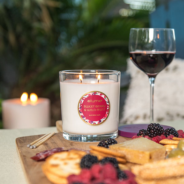 Elume Sweet Berry And Wild Mint Luxury Soy Candle Jar 2 Wick With Wine And Cheese Board