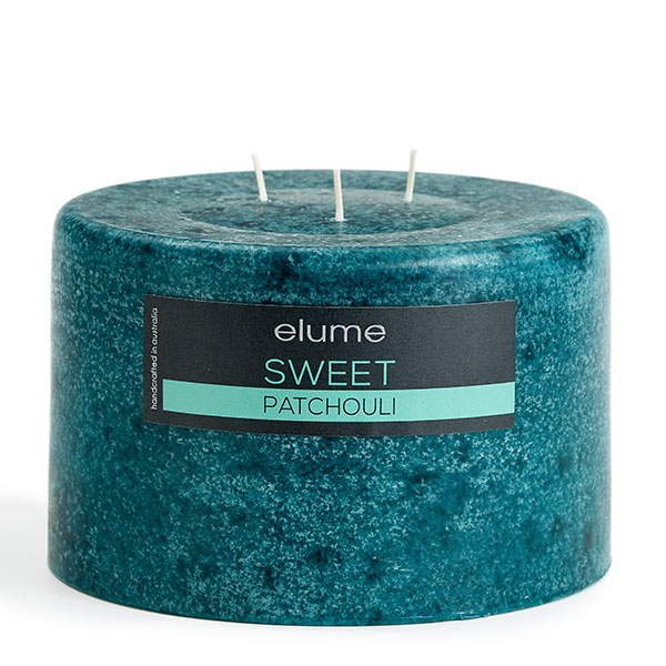 Elume Sweet Patchouli Scented Soy 3-wick Pillar Candle