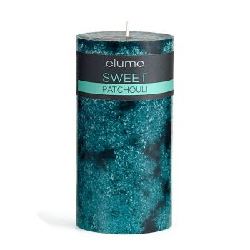 Elume Sweet Patchouli Scented Green Signature Pillar Candle