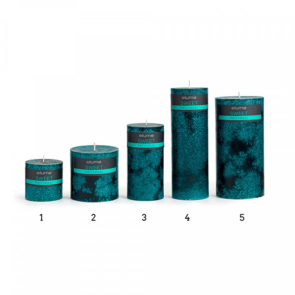 Elume Sweet Patchouli Scented Signature Pillar Green Candles Group Extra Small to Extra Large