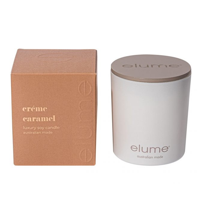 Elume Creme Caramel Luxury Soy Scented Candle Jar And Box