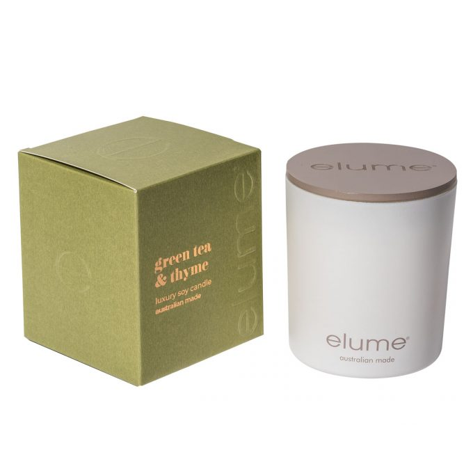 Elume Green Tea & Thyme Luxury Soy Scented Candle Jar And Box Sideview