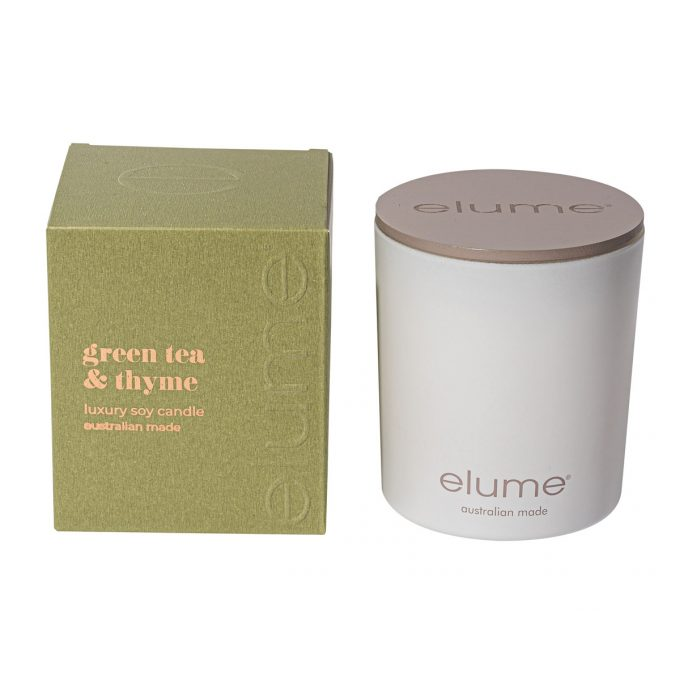 Elume Green Tea & Thyme Luxury Soy Scented Candle Jar And Box