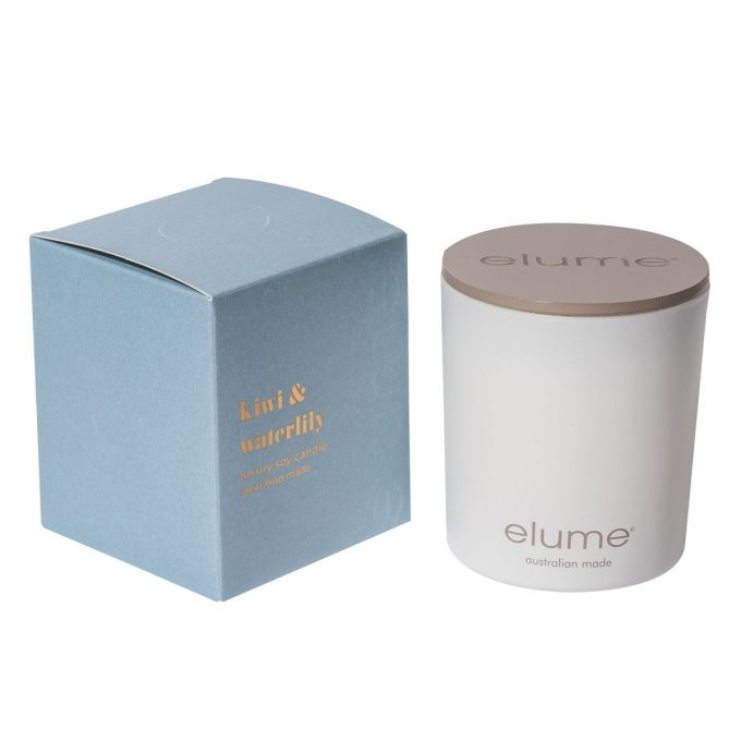 Elume Kiwi Waterlily Luxury Soy Scented Candle Jar And Box Sideview