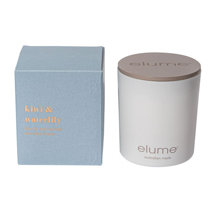 Elume Kiwi Waterlily Luxury Soy Scented Candle Jar And Box