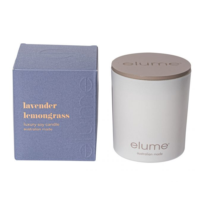 Elume Lavender Lemongrass Luxury Soy Scented Candle Jar And Box