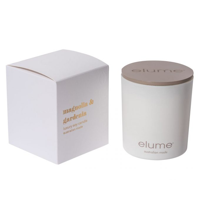 Elume Magnolia Gardenia Luxury Soy Scented Candle Jar And Box Sideview