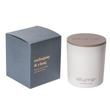 Elume Mahogany And Ylang Luxury Soy Scented Candle Jar And Box Sideview