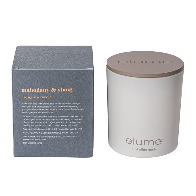 Elume Mahogany And Ylang Luxury Soy Scented Candle Jar And Box Back Of Box