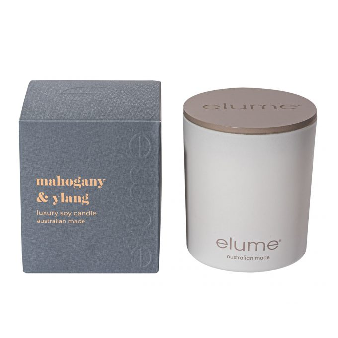 Elume Mahogany And Ylang Luxury Soy Scented Candle Jar And Box