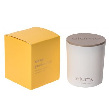Elume Mango Passionfruit Luxury Soy Scented Candle Jar And Box Sideview