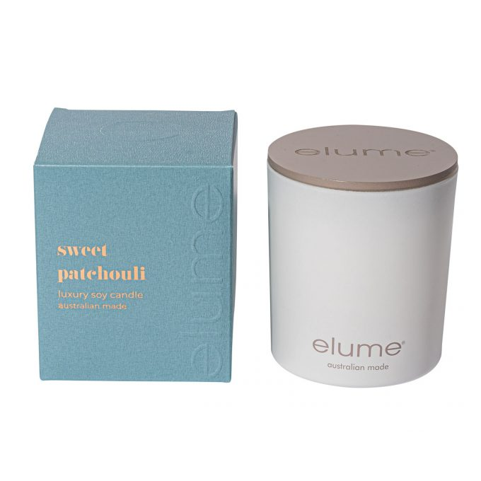 Elume Sweet Patchouli Blossom Luxury Soy Scented Candle Jar And Box