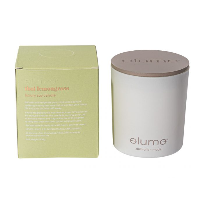 Elume Thai Lemongrass Blossom Luxury Soy Scented Candle Jar And Box Back Of Box