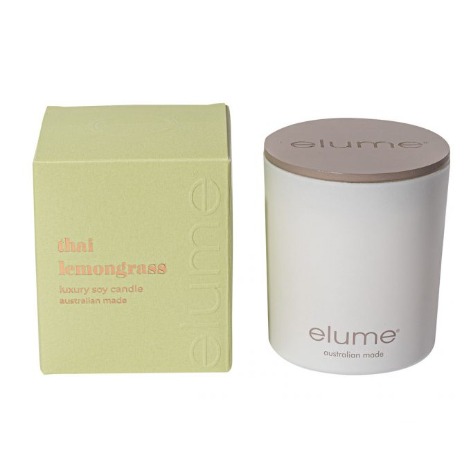 Elume Thai Lemongrass Blossom Luxury Soy Scented Candle Jar And Box