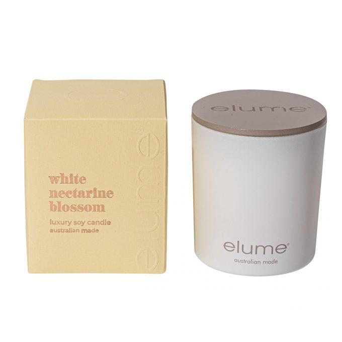 Elume White Nectarine Blossom Luxury Soy Scented Candle Jar And Box