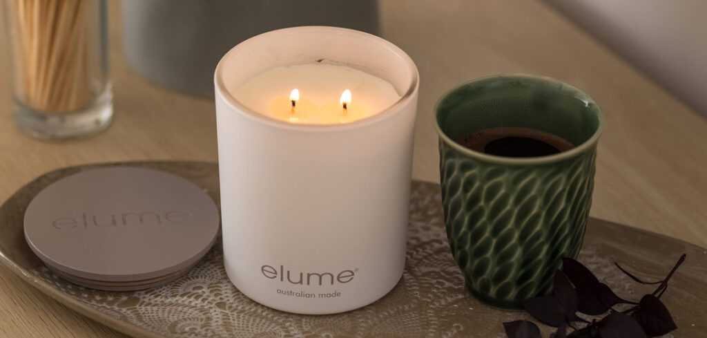 Elume luxury soy candle and coffee