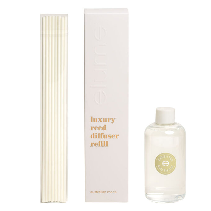 Elume Green Tea And Thyme Scented Luxury Reed Diffuser Refill Box Sticks And 200ml Bottle
