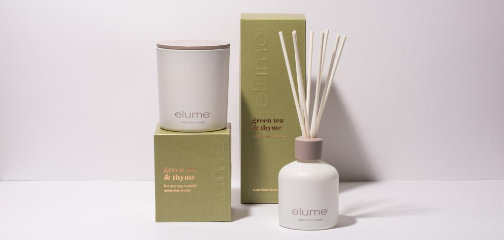Elume Green Tea & Thyme Luxury Soy Wax Candle And Reed Diffuser